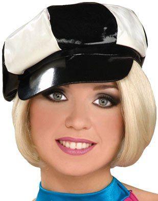 Amazon.com  60s 70s Black White Vinyl Mod Women s Costume Hat Cap  Clothing 0e7b0218c8c