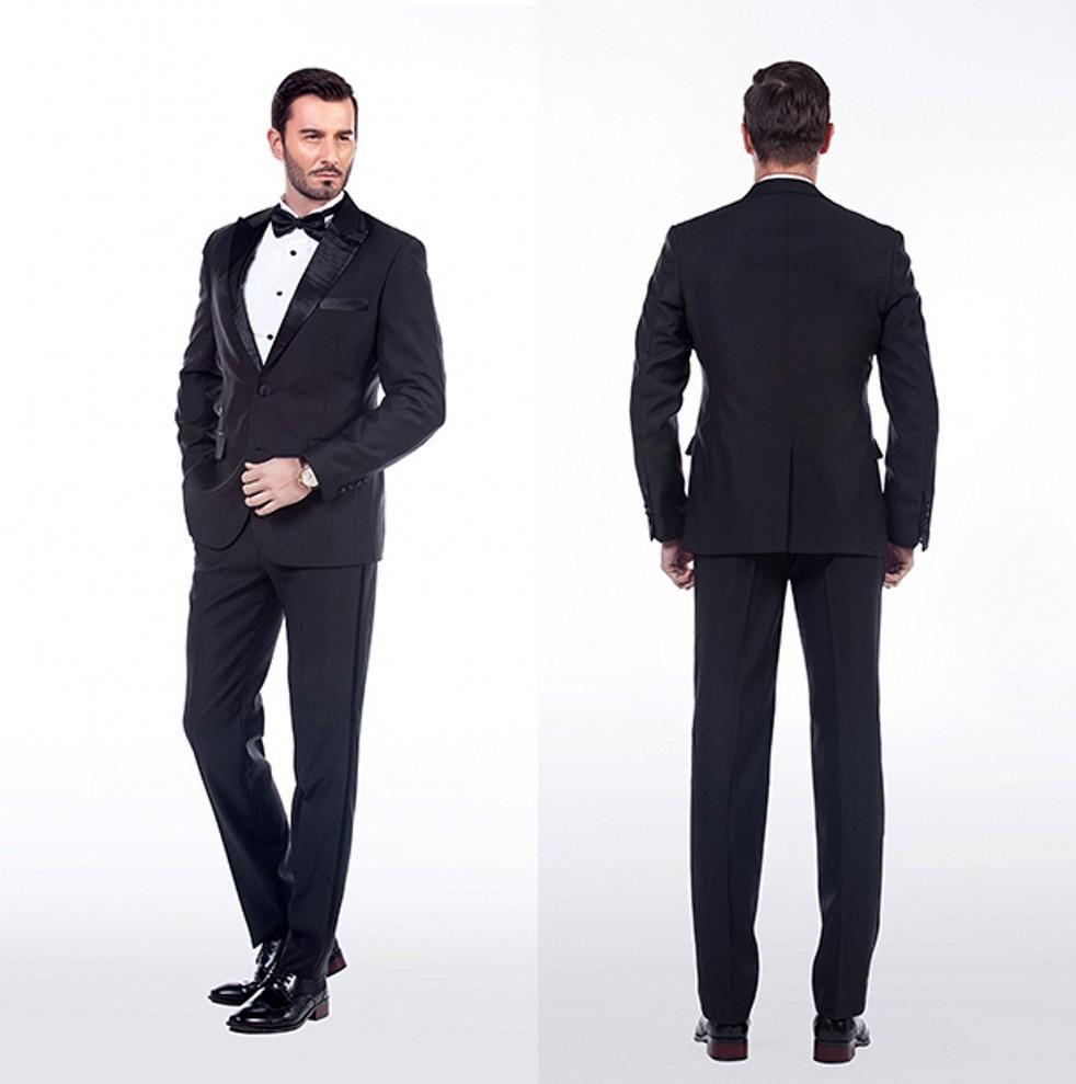 Wedding Suits For Groom Mens Tuxedo Black Custom 2015 Cheap New 2 Piece Tuxedos Groomsmen Suit Jacket Pants Tie