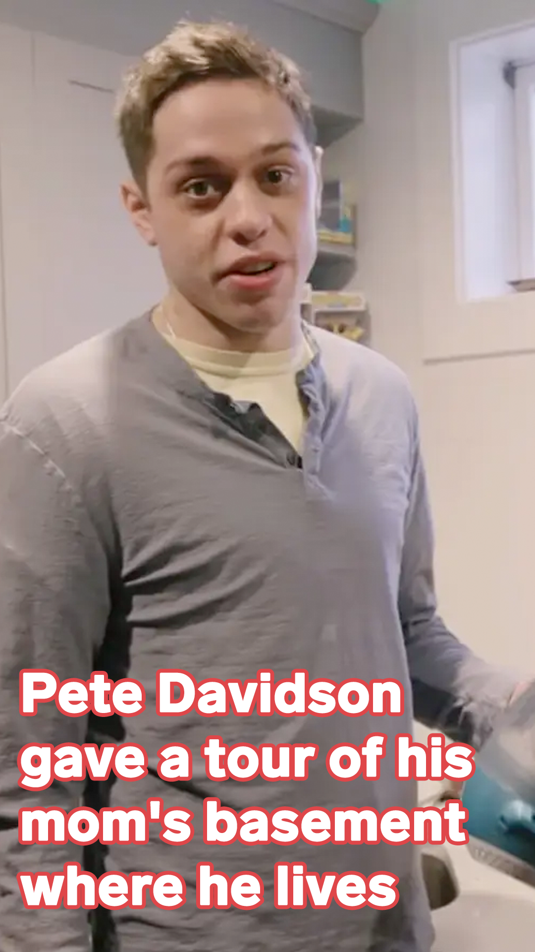 Pete Davidson gave a tour of his mom's basement where he lives, featuring a 'porno bathroom' and an 'Uncut Gems' basketball