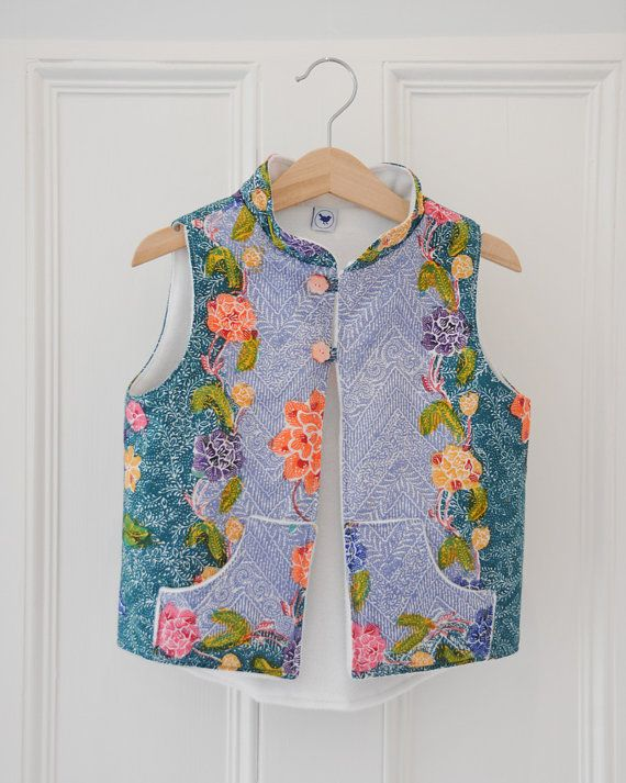 Girls / kids quilted / padded vest - made with Singapore