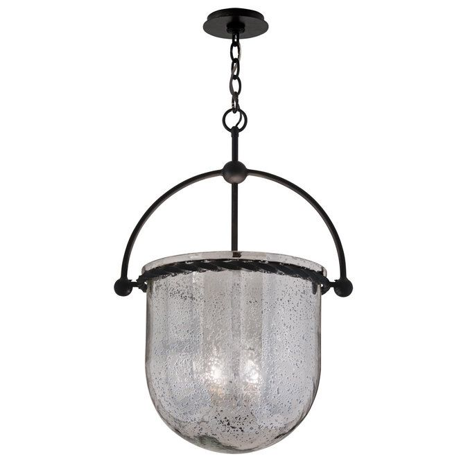 Mercury Glass Bell Lantern Iron Pendant Troy Lighting Transitional Pendant Lighting