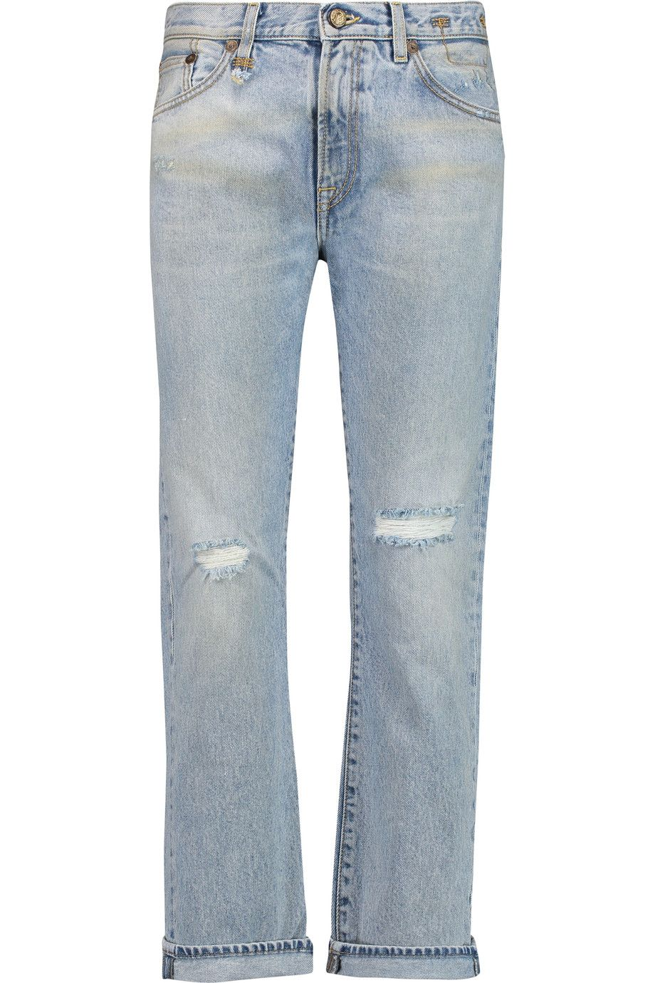 R13 Bowie distressed mid-rise straight-leg jeans. #r13 #cloth #jeans