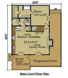 2 Bedroom Cabin Plan with Covered Porch Wraparound porch Cabin
