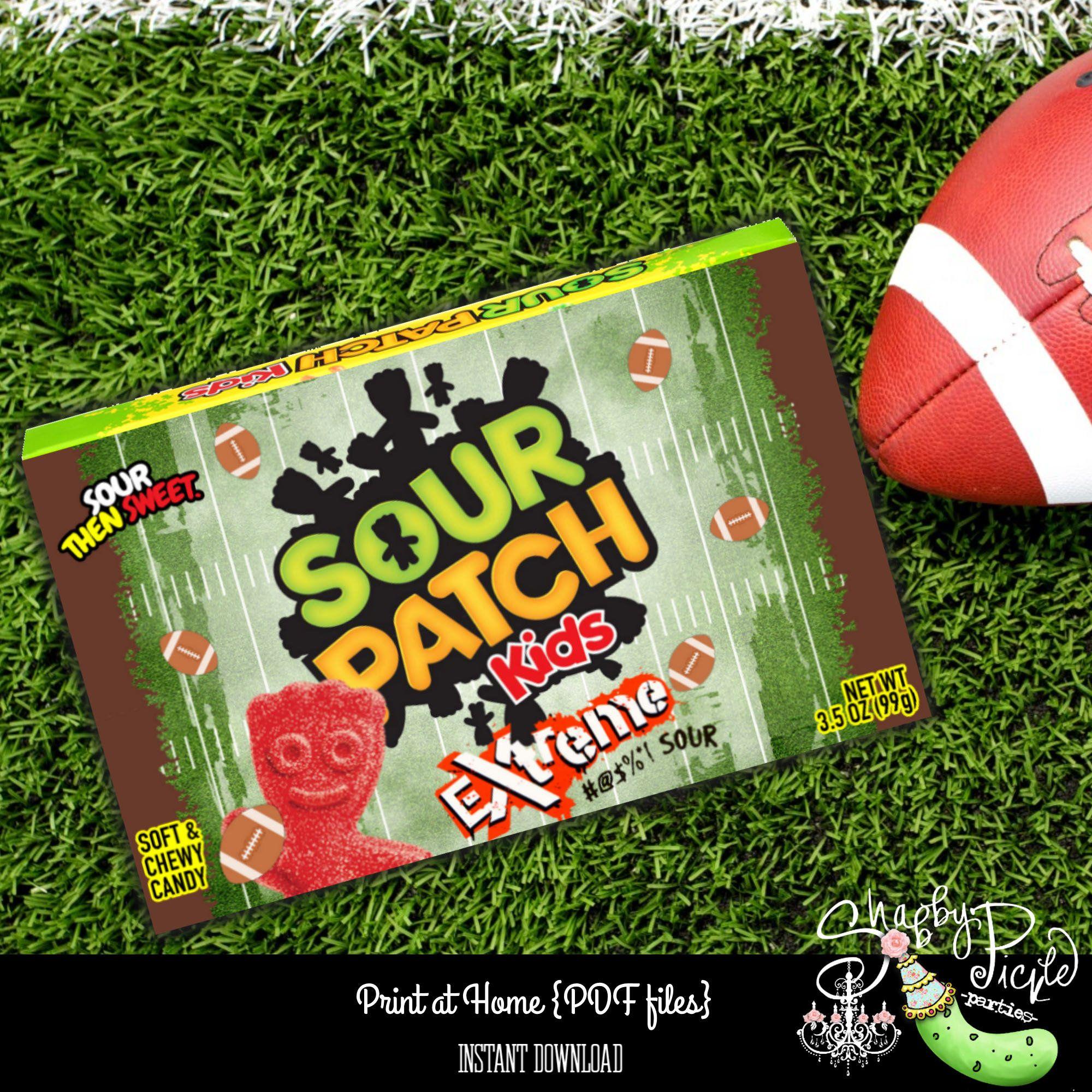 Vintage Football Super Bowl Sour Patch Kids Box Label