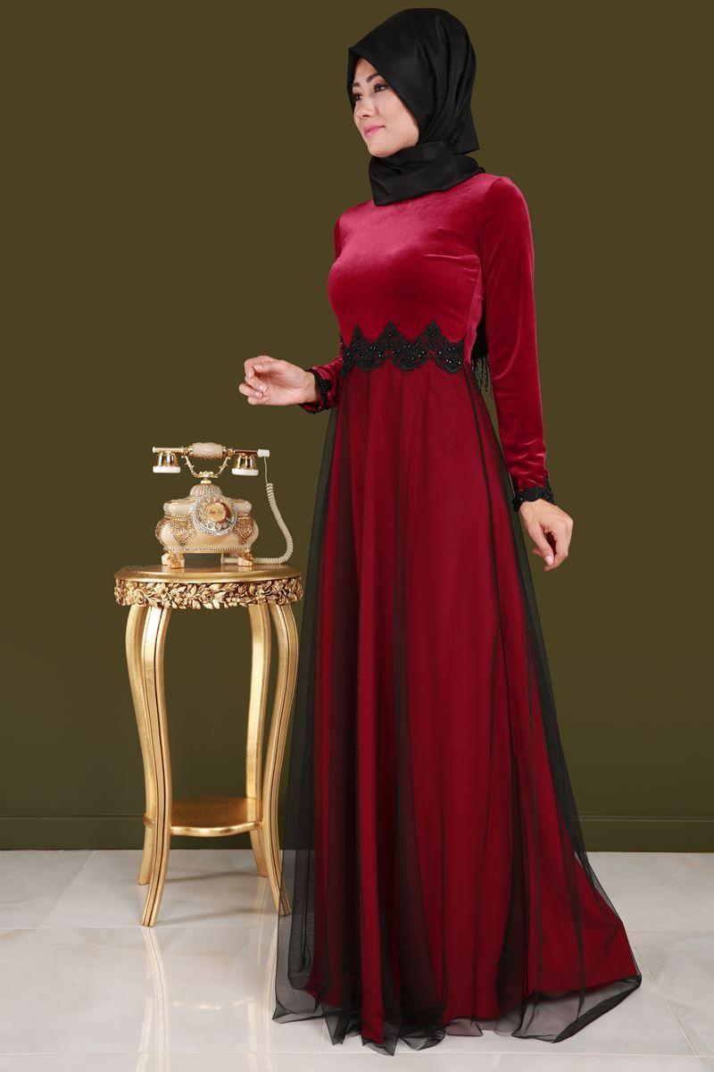 9d9ec30b1c210 Üstü Kadife Eteği Tüllü Abiye ARN38091 Kırmızı   elbise   Kadife ...