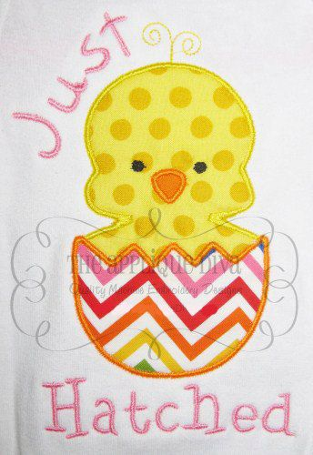 Easter Egg Just Hatched Chick Embroidery Design Machine Applique