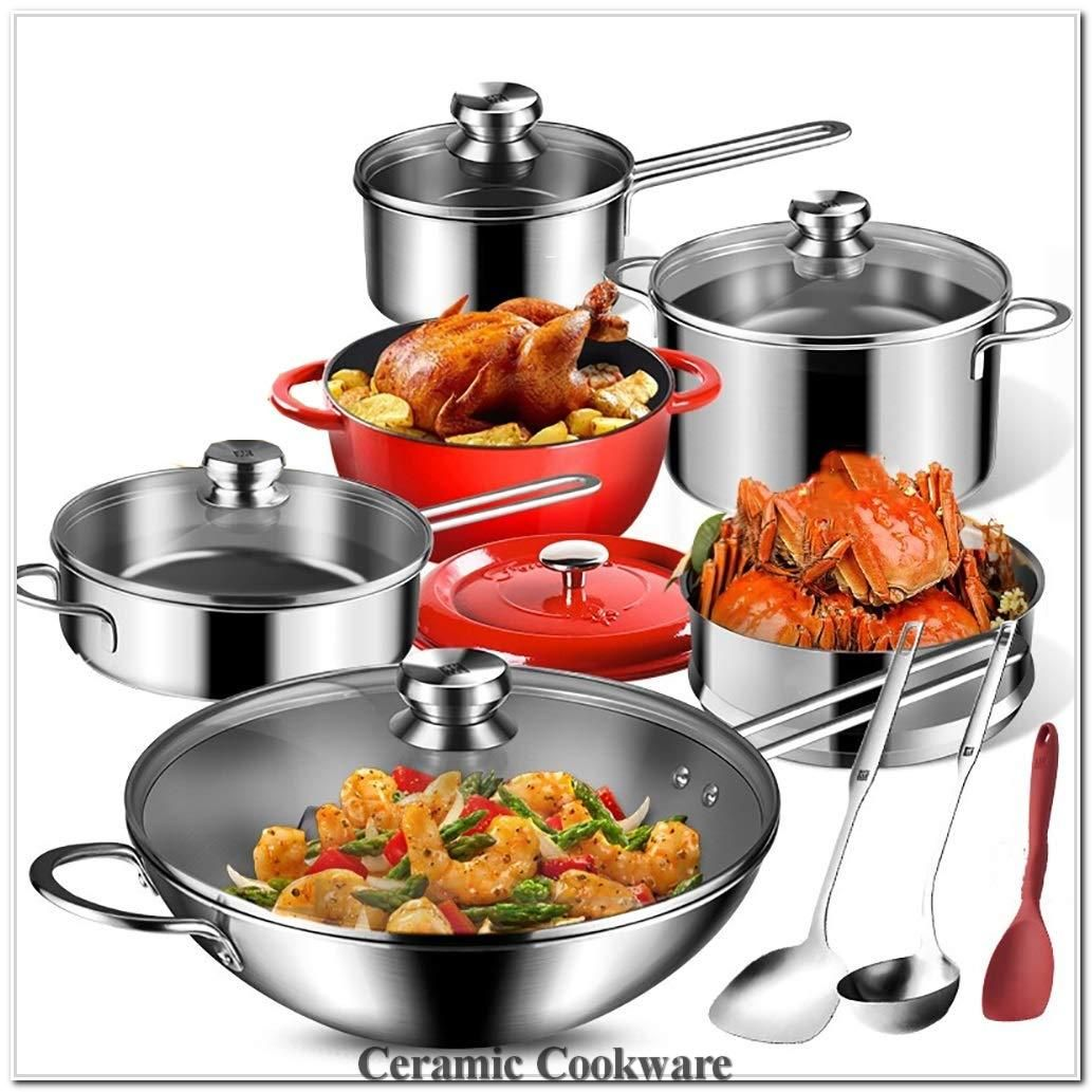 Stainless Steel Skillet Set With Lids Nonstick Cookware Set