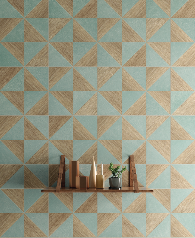 Decorative Tiling Colour Block Oak Blue Blend Decorative Tiles  Geometric Designs