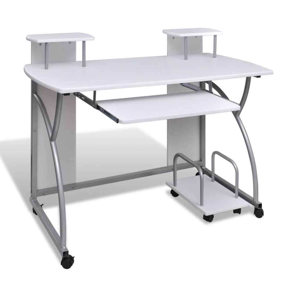 Computer Desk With Pull Out Keyboard Tray White Cart Game