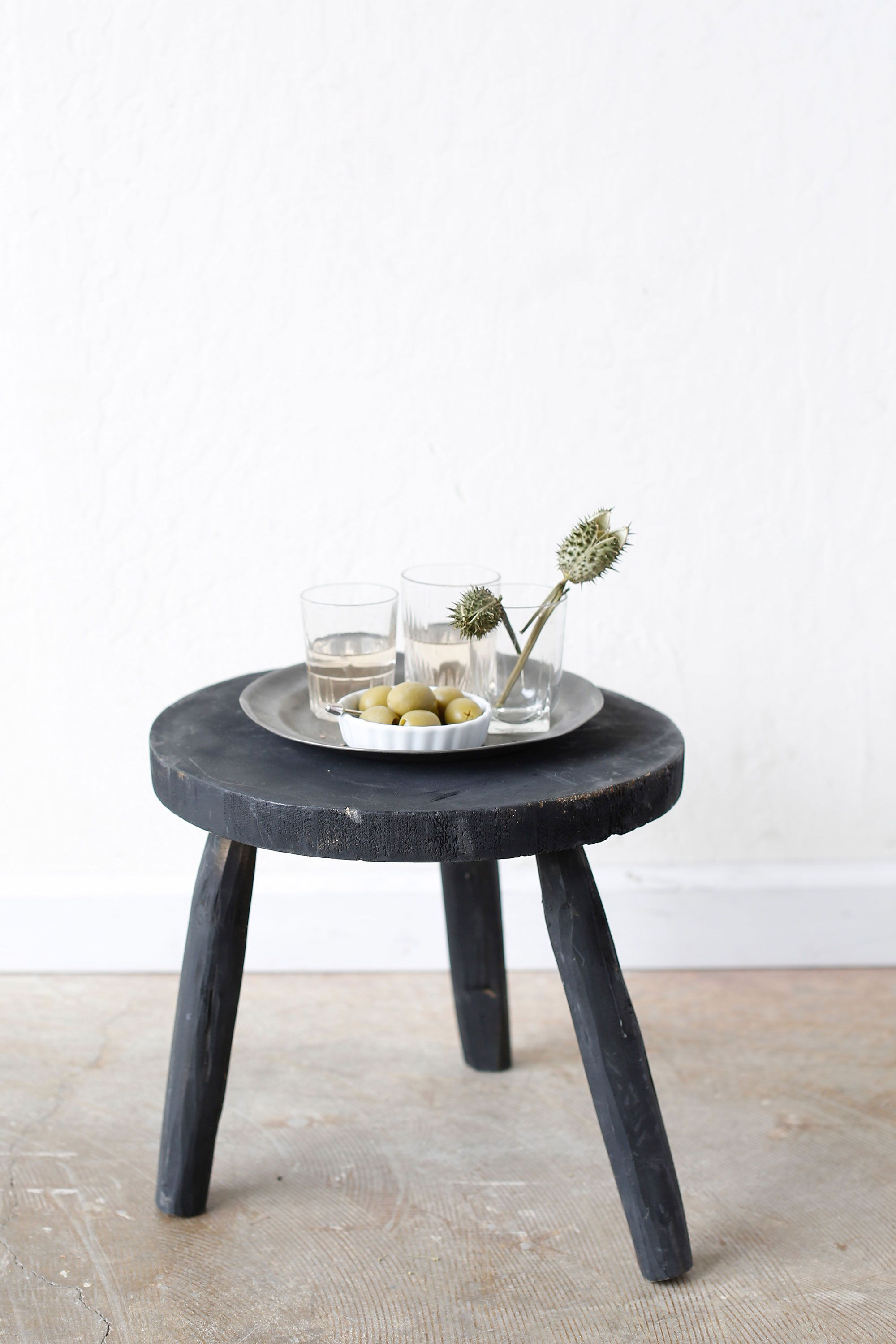 Fabulous Round Black Stool Vintage Finds For A Modern World Black Andrewgaddart Wooden Chair Designs For Living Room Andrewgaddartcom