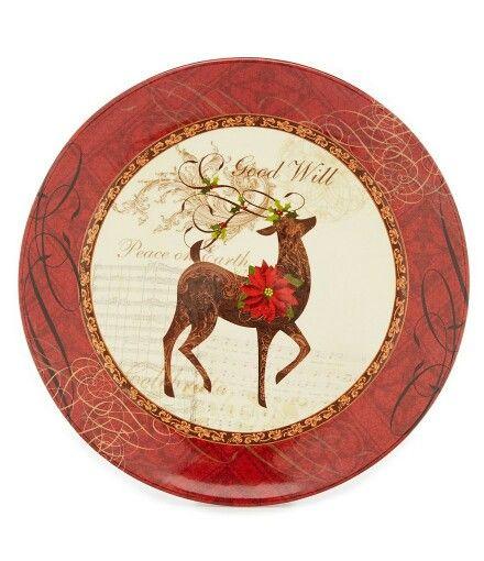 Winter Garden Reindeer Plate