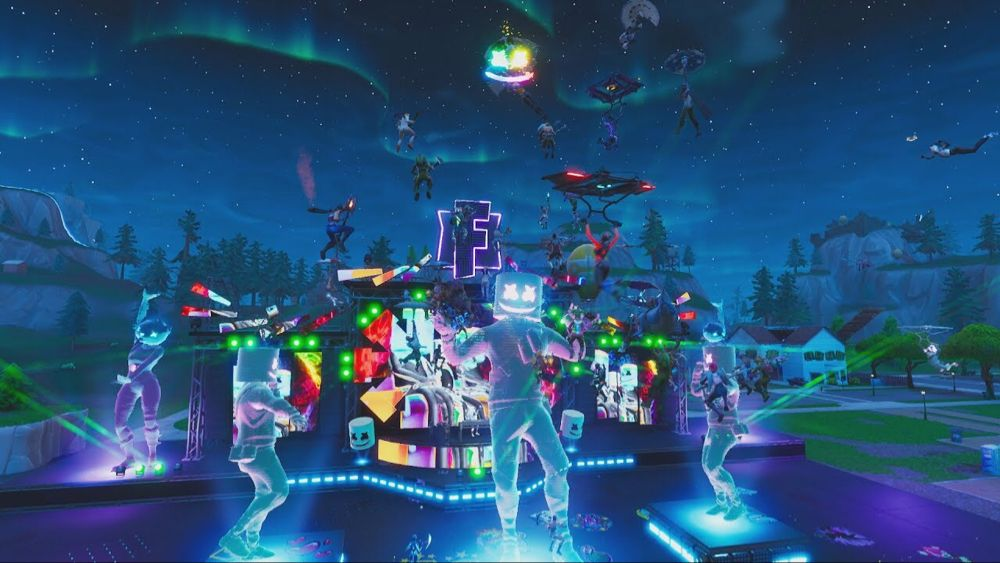 Marshmello Holds First Ever Fortnite Concert Live At Pleasant Park Youtube Happy Music Video Concert Fortnite