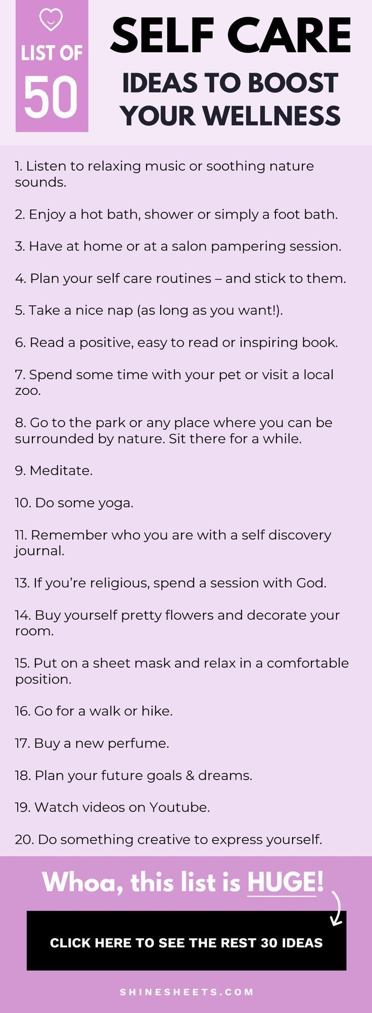 The Ultimate Self Care Ideas List: 50 Ways To Boost Your Wellness