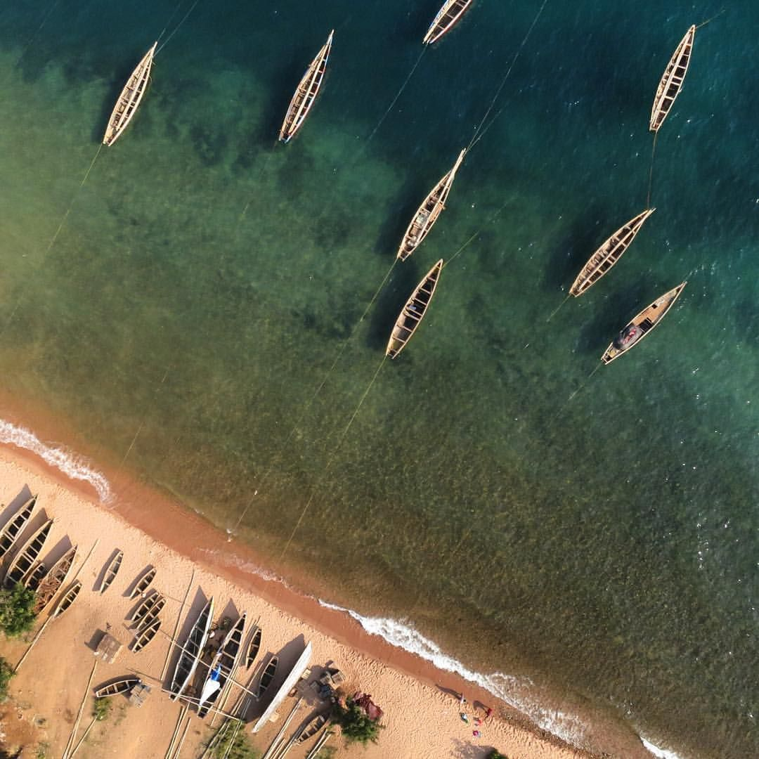 Fishing village on the shore of Lake Tanganyika. View from a #3DR quadcopter.