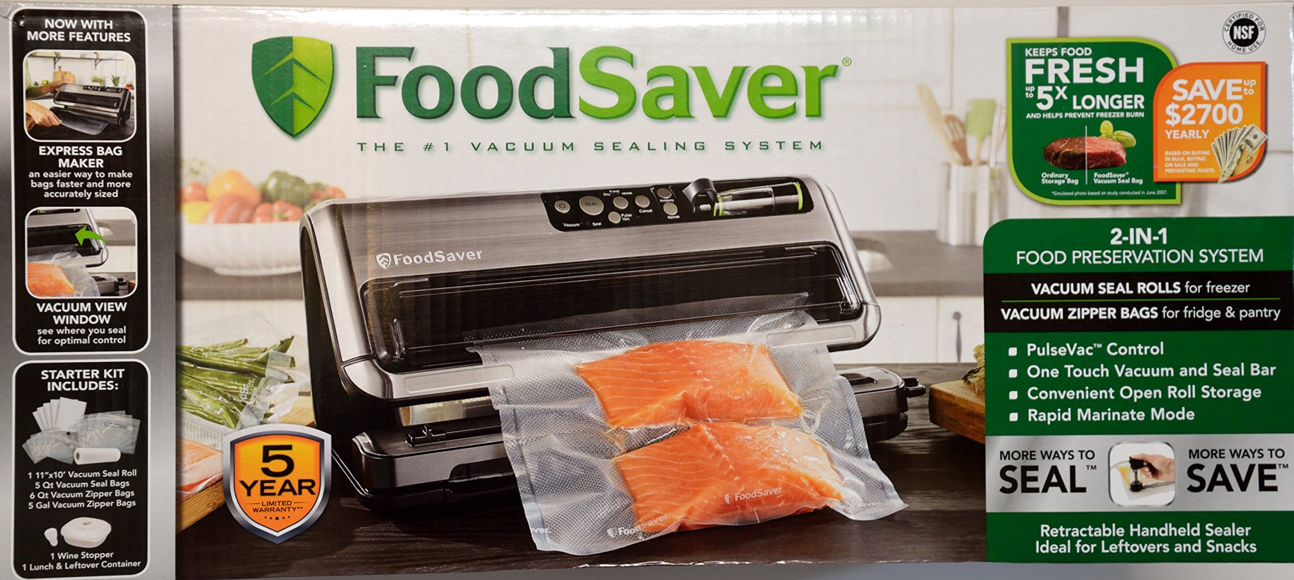 Foodsaver 2in1 vacuum sealing system with starter kit 5400