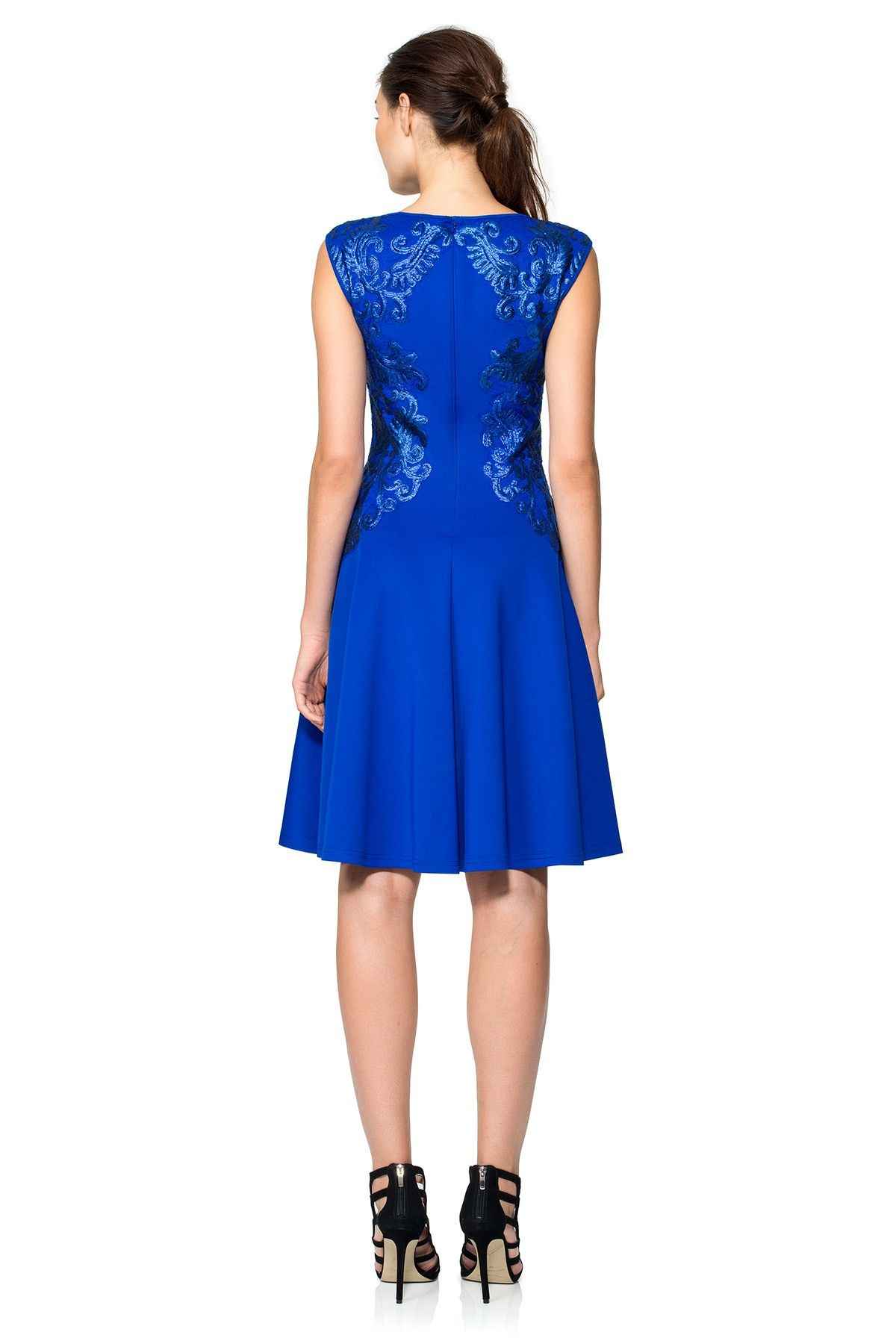 Neoprene and Paillette Embroidered Lace Boatneck A-Line Dress | Tadashi Shoji