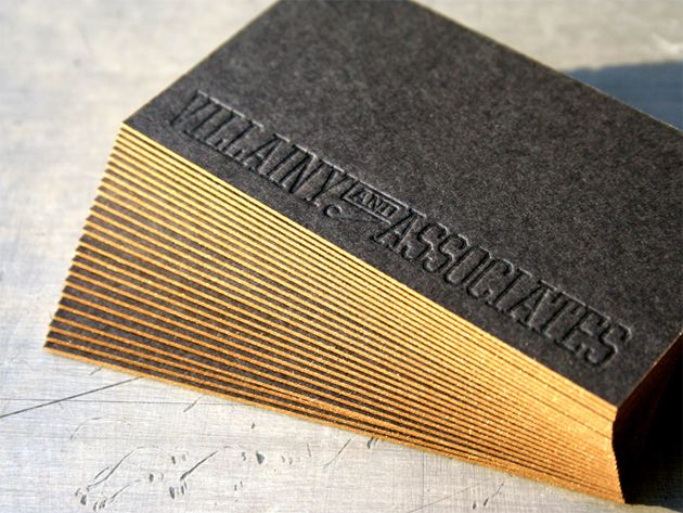 Blind Embossed Business Cards On Black Conservation Board With Gold Edge Painting Stunning