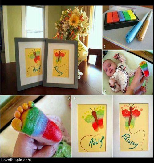 DIY Frame Footprint Art Colorful Baby Color Diy Ideas Crafts Do It Yourself Easy Tips Pictures Craft Home