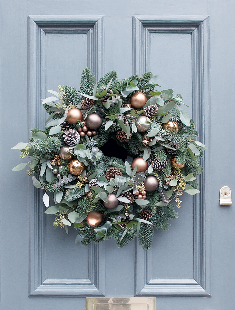 A Sumptuous Array Of Seasonal Foliage Beautiful Copper And Mink Baubles  Frosted Pine Cones And Miniature