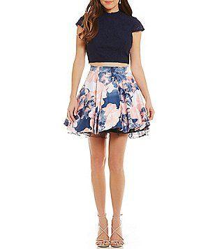 101b51347e8 Jodi Kristopher Mock Neck Lace Top Floral-Print Skirt Two-Piece Dress