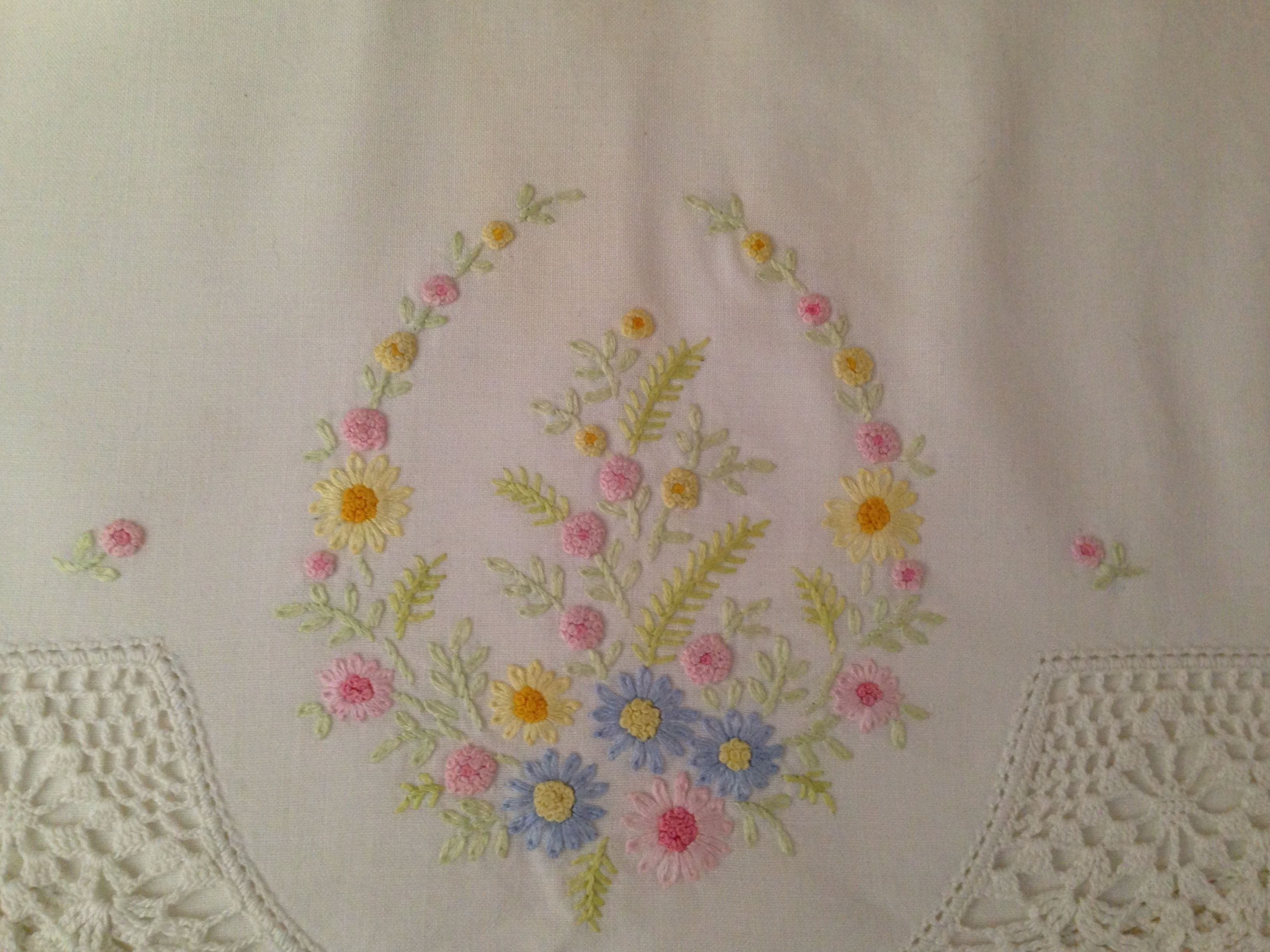 Pillowcase Edging Crocheted Embroidery By My Grandma Love The