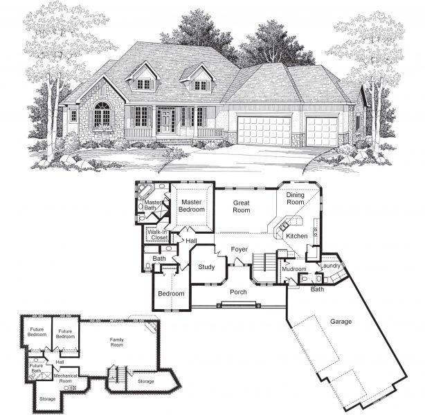 Sequoia rambler style ranch style home 2 bedrooms for House plans rambler