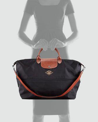 b2949872d Longchamp Le Pliage Monogrammed Expandable Travel Bag - Neiman Marcus