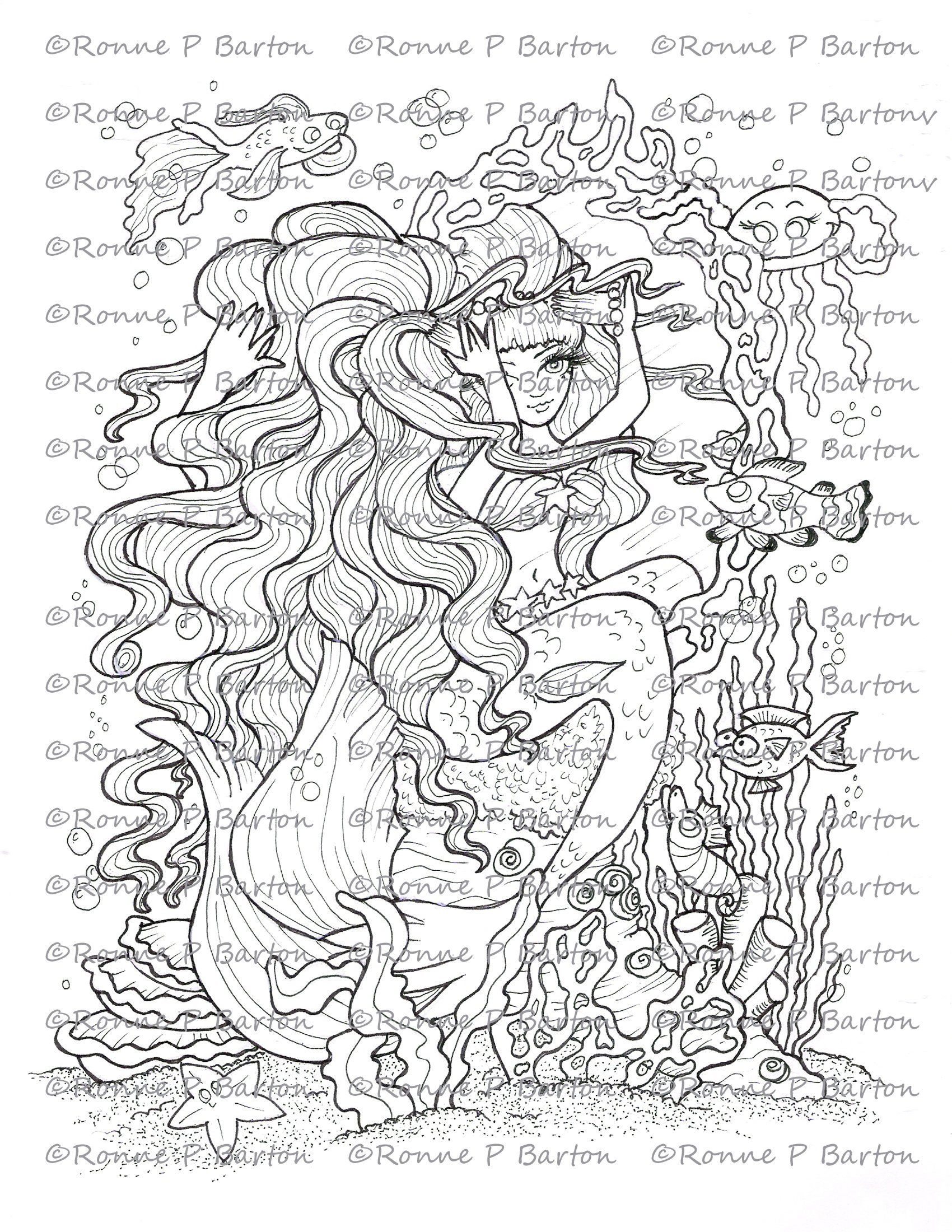 Taming The Waves Mermaid Fairy Art Coloring Page Digi Stamp