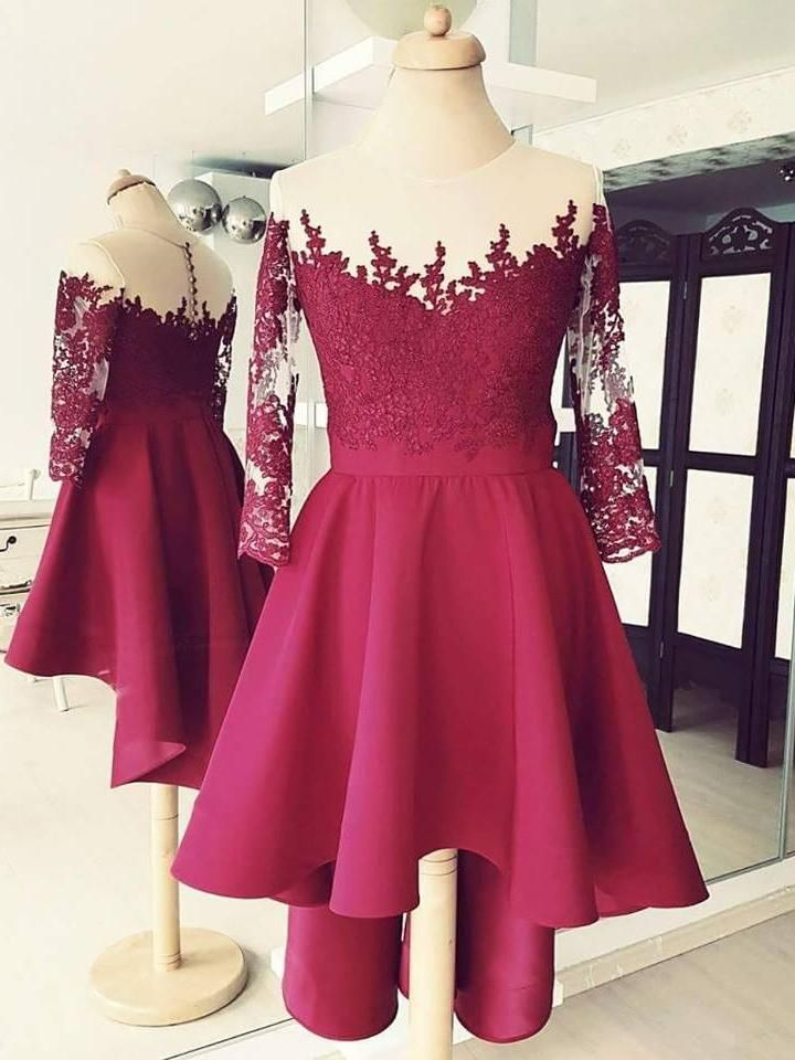Burgundy High Low Short Prom Dresses 3/4 Sleeves Lace Applique Homecoming  Dresses APD3506