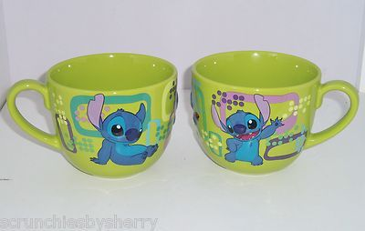 Disney Store Stitch Lime Green Blue Coffee Mug NEW