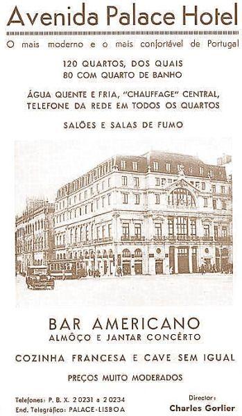 Avenida Palace Hotel Lisboa Anuncios Antigos Cartaz
