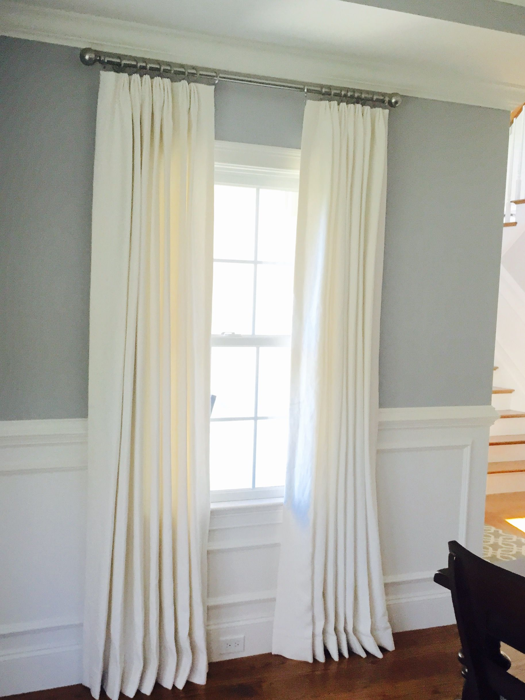 white cottage custom Triple Euro pleated Drapery panels in Classic ...