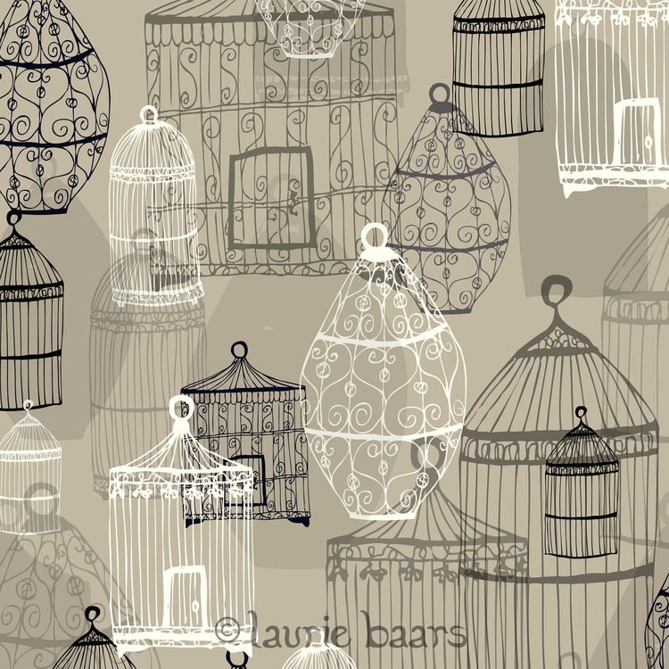 Guvon hotels & Spas love this design:  Birdcages by Laurie Baars #illustration #pattern