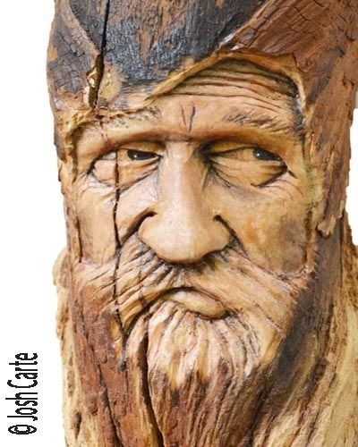 Wood spirit carving carved handmade woodworking face
