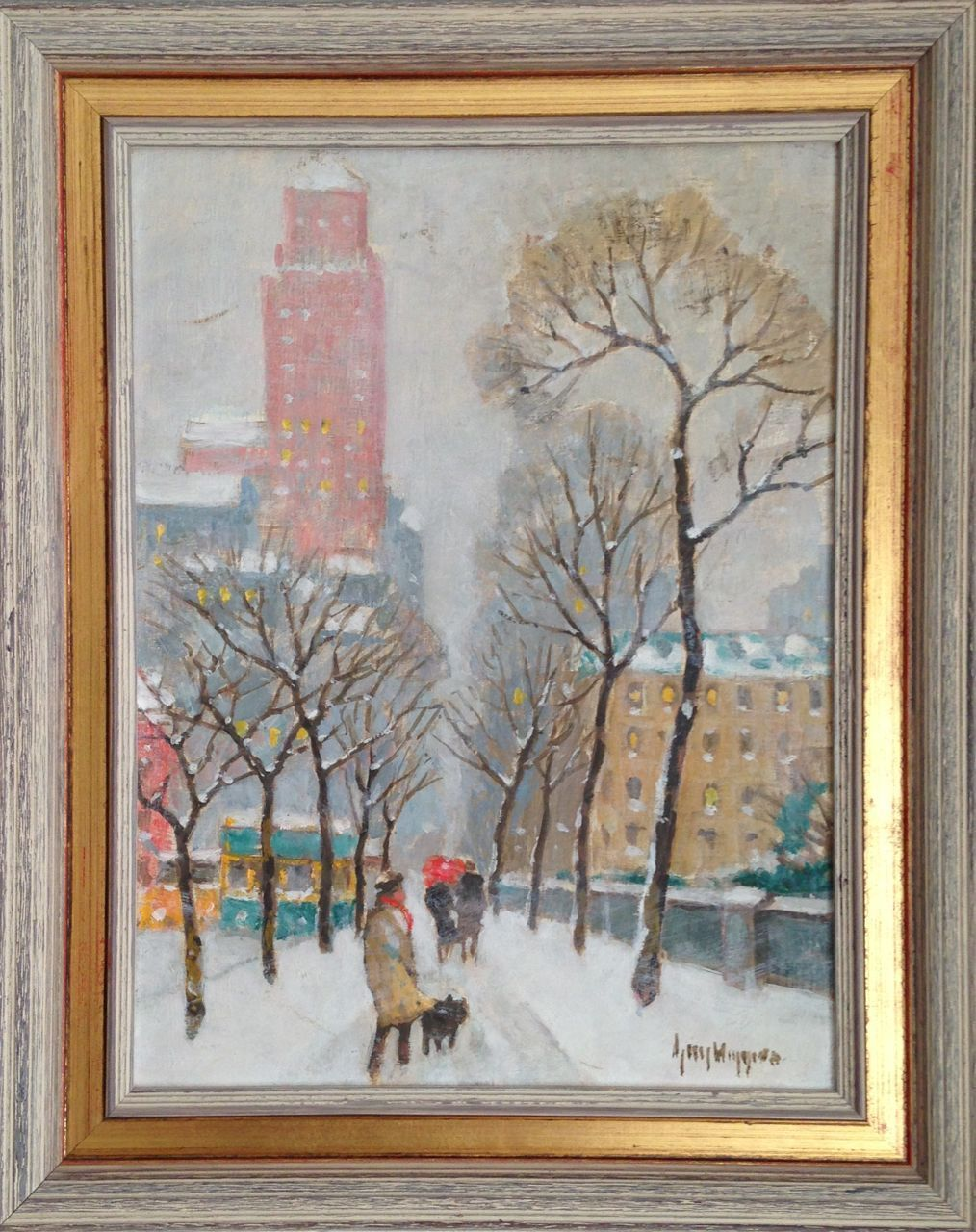 new york city snowy street 12 x 16 in period frame