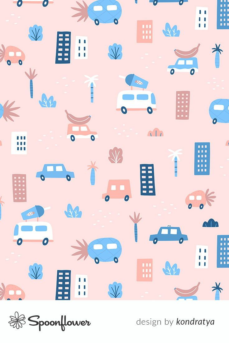 Colorful fabrics digitally printed by Spoonflower - Fruits cars