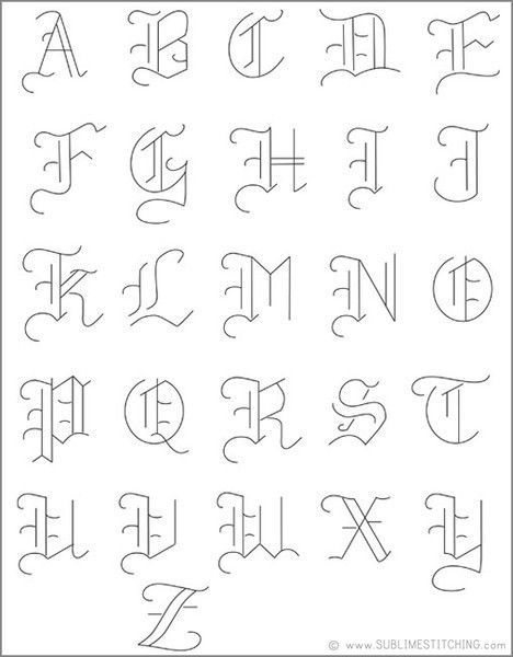 Small Old English Tattoo: SMALL PACK Embroidery Patterns - OLDE ALPHABET