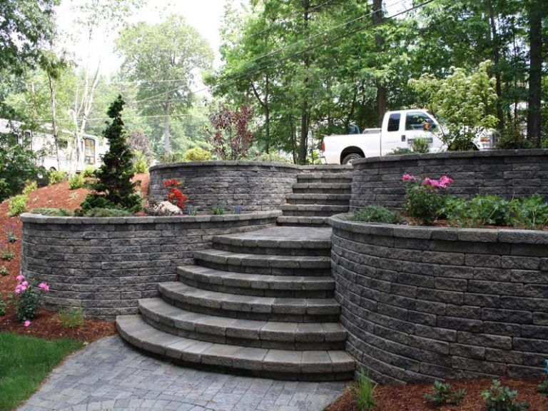 Backyard retaining wall designs nh landscape design for for Terrace steps