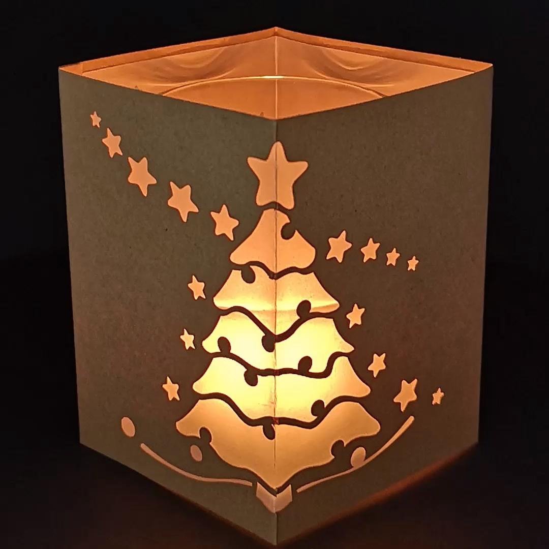 Photo of Windlicht mit Weihnachtsbaum  [Bastelvorlage & Plotterfreebie]