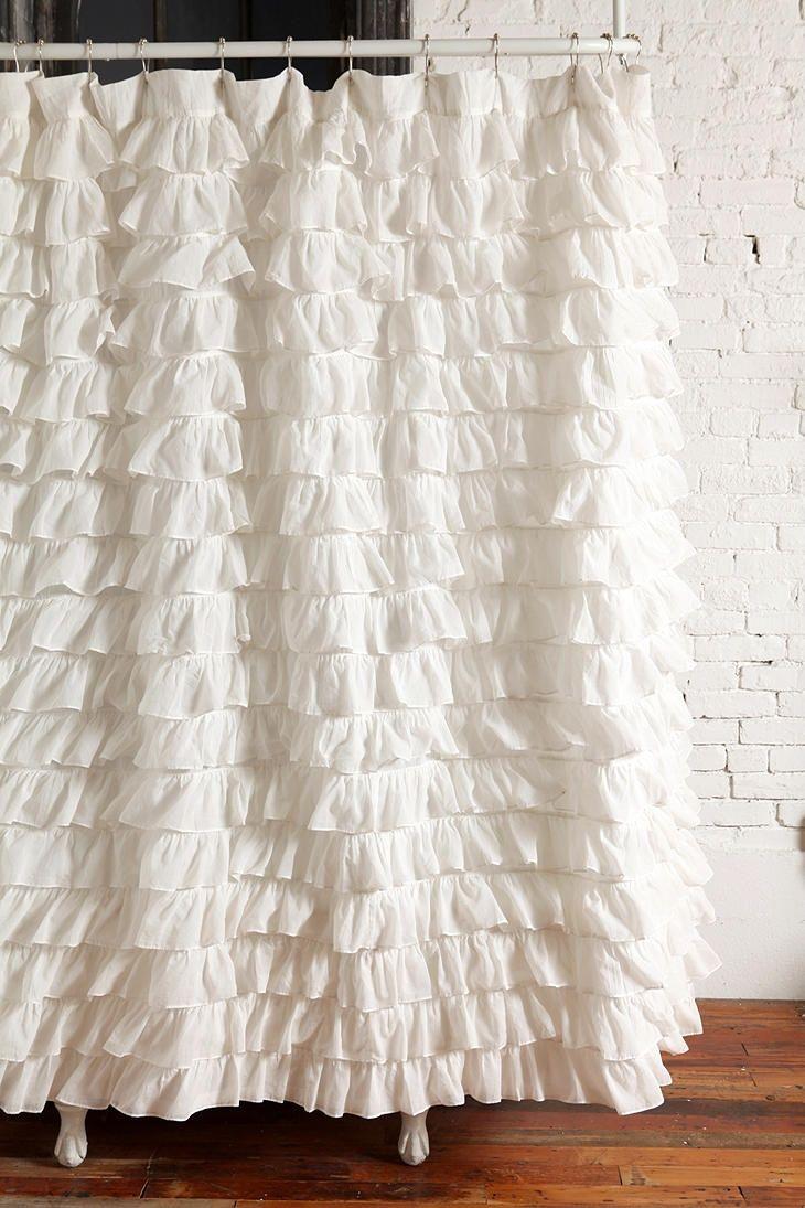 Fabolous White Ruffled Shower Curtain | Shower Curtains | Pinterest ...