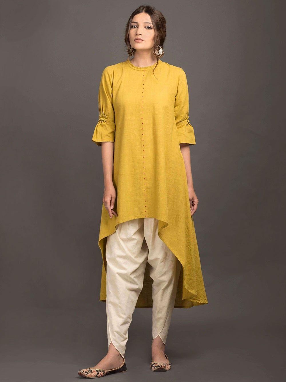 6f4a8a67f8 Mustard Yellow Khadi High Low Kurta | fashion | Khadi kurta, Indian ...