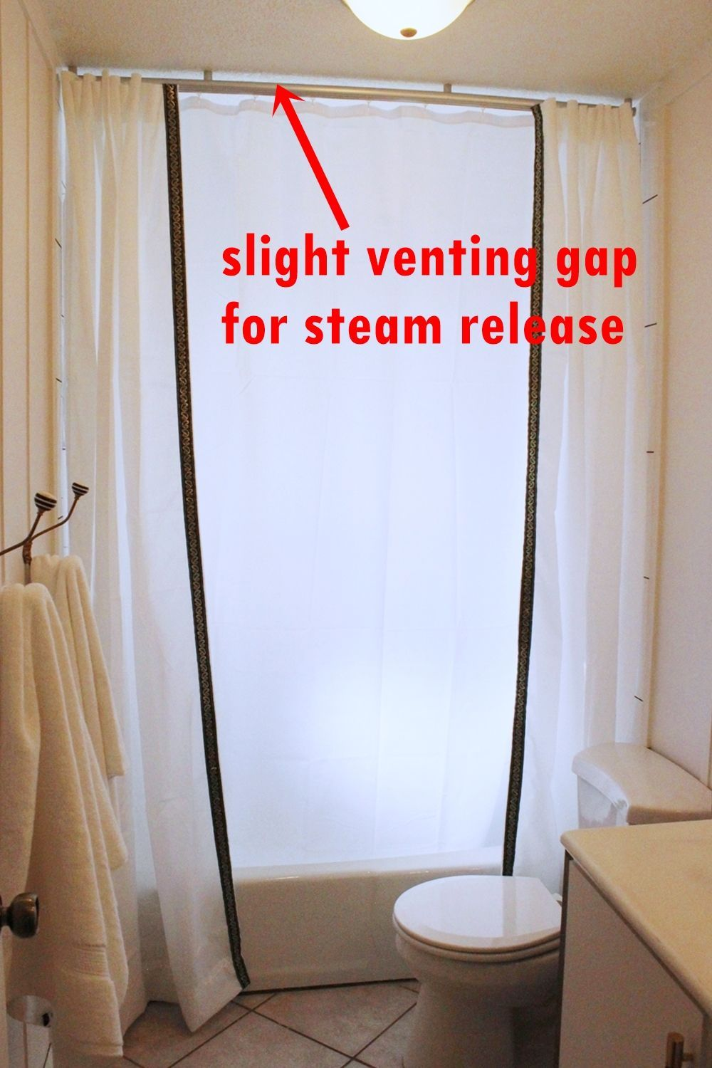 How to Install a Ceiling-Mounted Shower Curtain | Pinterest ...