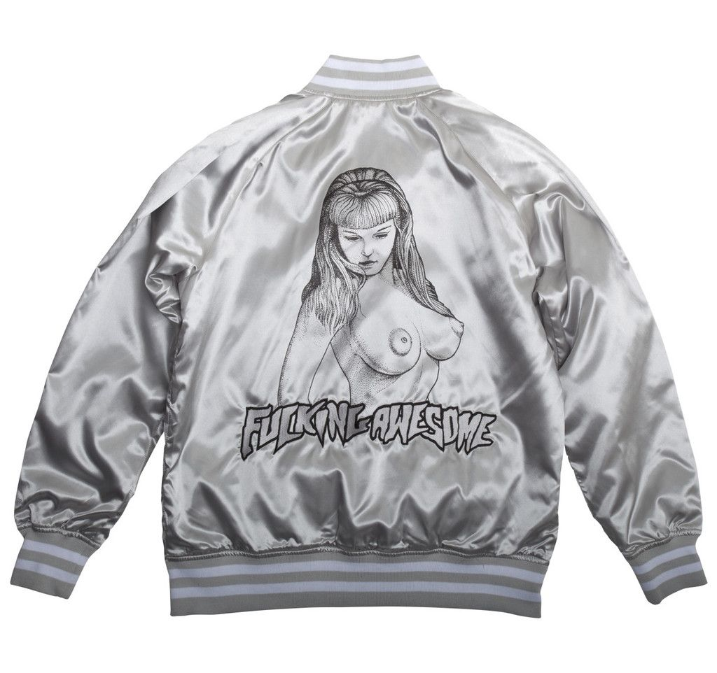 Black and silver letterman jacket