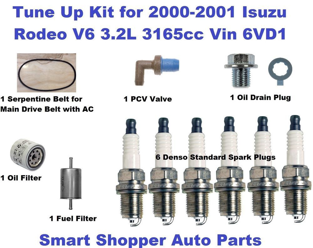 Tune Up Kit For 2000 2001 Isuzu Rodeo Spark Plug Oil Fuel