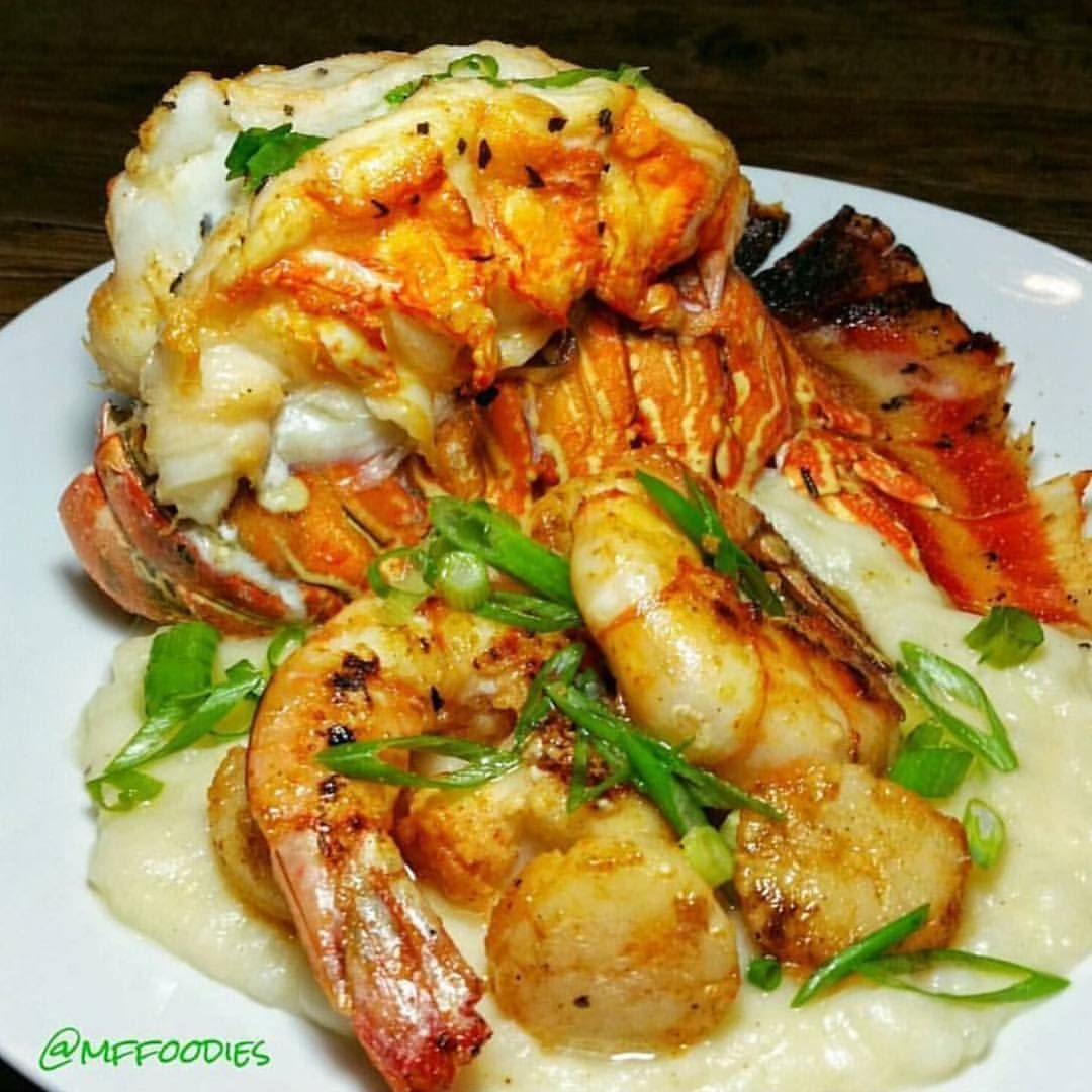 Butterflied Lobster Tail, Sauteed Shrimp & Scallops with