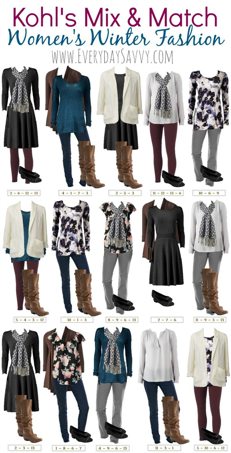 Winter Mix and Match Outfits From Kohls | Banks, Stylish and Floral