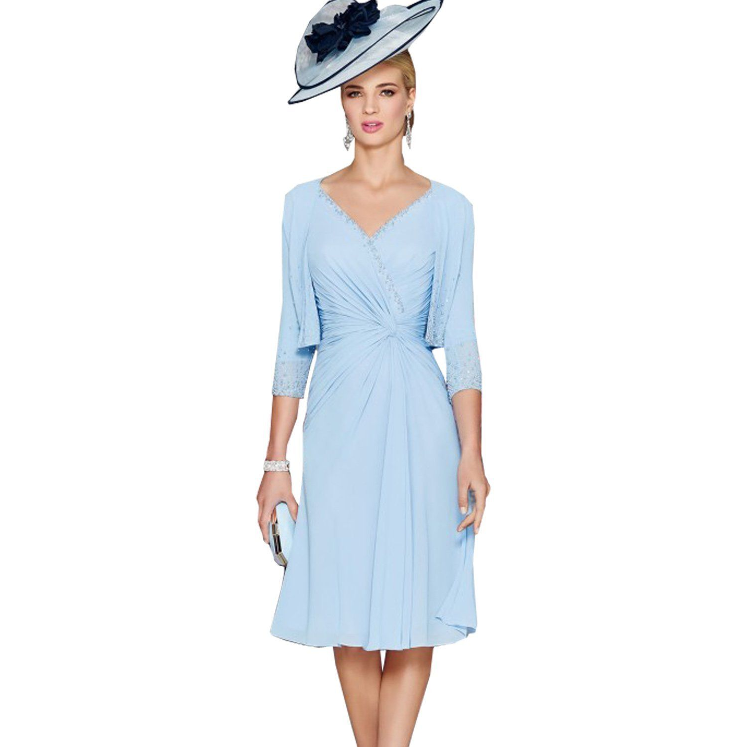 Fenghuavip graceful vneck mid long light blue bridal mother dresses