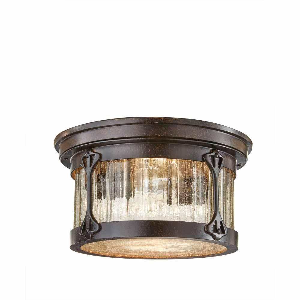 Home Decorators Collection Lamont 2 Light Chestnut Outdoor Flushmount Hb7086 260 The Home De Outdoor Lighting Light Fixtures Flush Mount Outdoor Flush Mounts