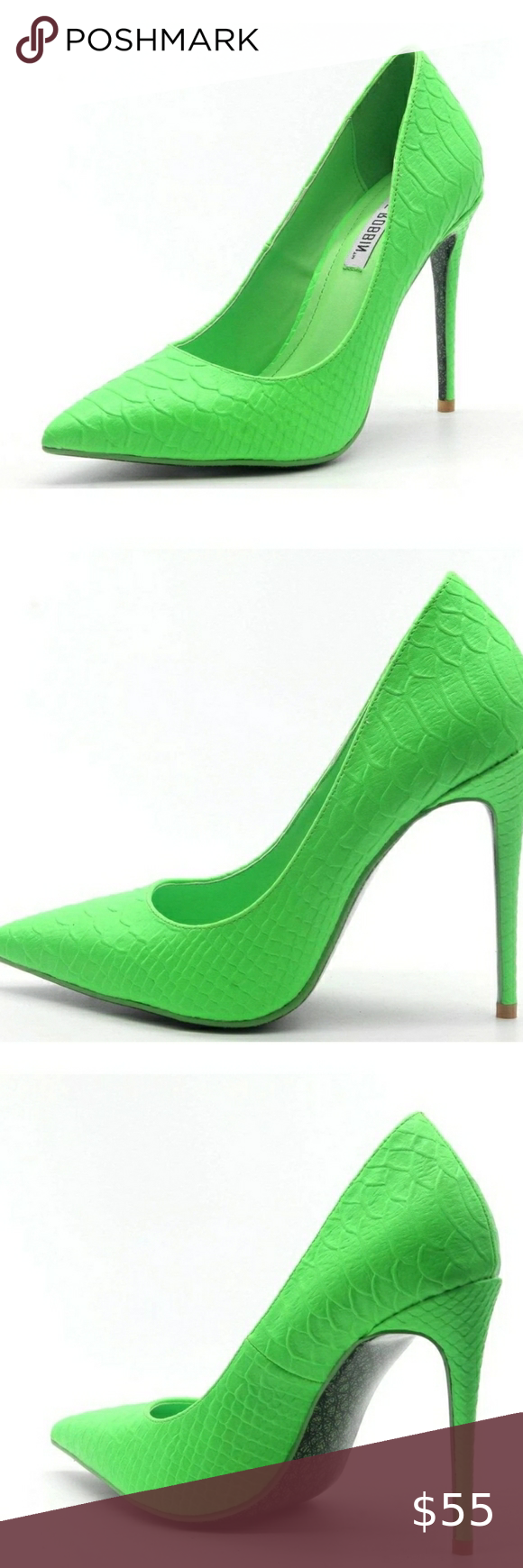 Cape Robbin Dixie Neon Light Green Crocodile Heels Green High Heels Heels Pink High Heels