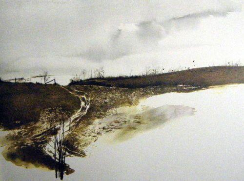 Andrew Wyeth Gravure Print HOFFMAN/'S SLOUGH /& FLOCK OF CROWS Pennsylvania
